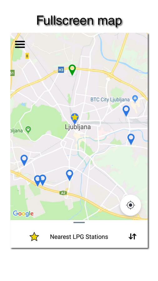 myLPG.eu app - fullscreen map