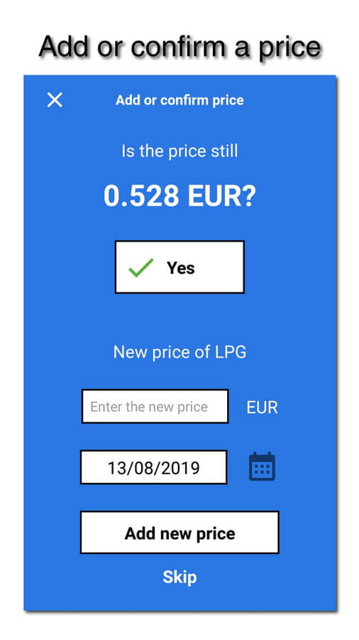 myLPG.eu app - add or confirm price