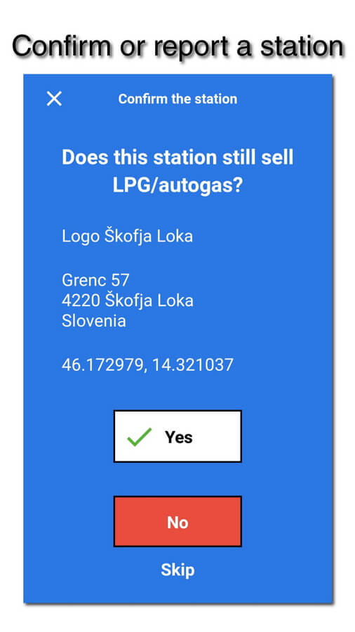 myLPG.eu app - confirm or report a station